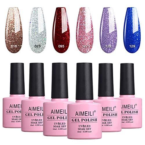 AIMEILI UV LED Gellack mehrfarbig ablösbarer Gel Nagellack Glitzer Set Gel Nail Polish Kit - 6 x...