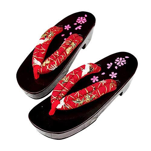 G-LIKE Damen Sandalen Pantoffel Sommerschuhe - Traditionelle Japanische Holzschuhe Geta Kimono Kirschblüte Sakura Musterdruck rutschfest Poliert Flip-Flops Cosplay Clogs (38-40 EU, Rot Kran)