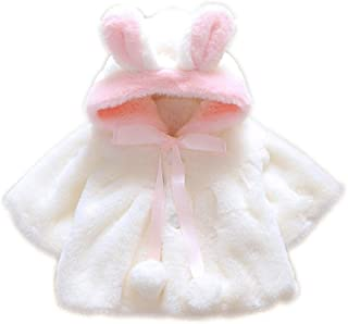 Baby Girl's Winter Coat Little Toddler Warm Faux Fur Jacket with Cute Ear Hooded