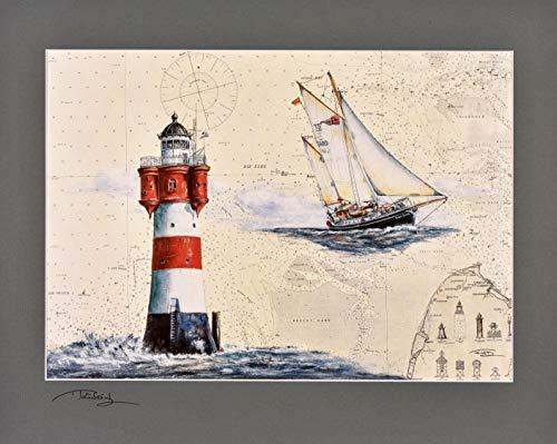 Kunstdruck Leuchtturm & Gaffelketsch Roter Sand mit original signiertem Passepartout Fotograu von Thomas Kubitz