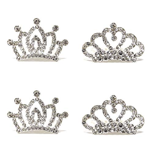 Honbay 4PCS Mini Crystal Rhinestone Crown Hair Comb Princess Tiara Comb, 1.7x1.5x0.9inch