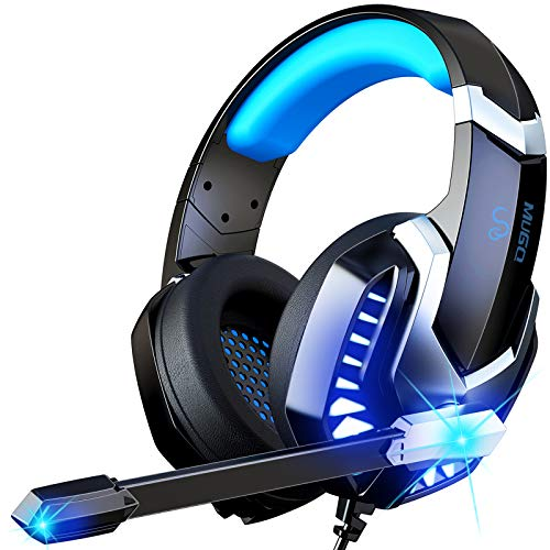 MuGo Gaming Headset for PC, Over Ear Headphones with Noise Canceling Mic, PS4 Headset with Soft Memory Earmuffs, LED Light, 3D Stereo Surround Sound Gaming Headphones for Xbox One, Mac, Laptop, Blue