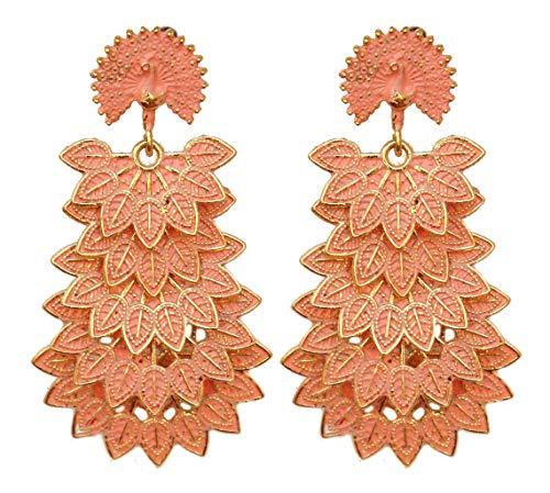 Pahal - Pendientes largos de oro de Jhumka de pavo real de la India del Sur de Bollywood para fiestas
