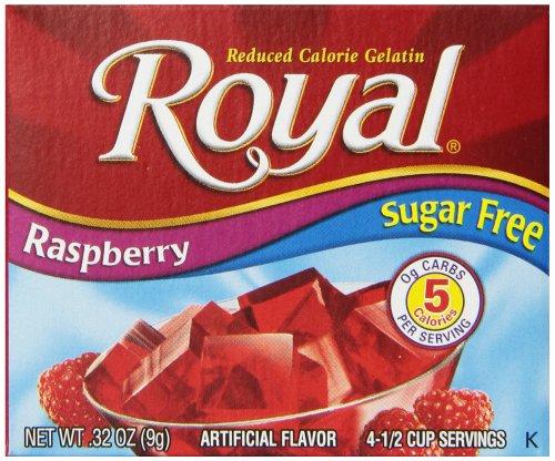 Royal Raspberry Gelatin Dessert Mix, Sugar Free and Carb Free (12 - .32oz Boxes)