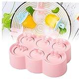 6 Griglia Cartoon Animal Popsicle muffa del gelato dei capretti Maker BPA-Free Piazza vassoio di ghiaccio Crema per famiglia fai da te Popsicle Stampi (colore rosa)