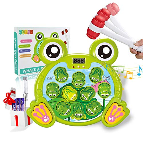 SOMAN Whack A Frog Game Toddler Toys for 3 Year Old Boys, Early Learning Durable Pounding Toy Helps Fine Motor Skills, Interactive Gifts for 2, 3 ,4, 5, 6 Year Old Kids, Girls, with 2 Hammers