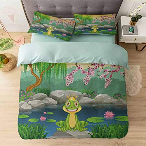 Aishare Store Duvet Cover Sets, Fairytale Inspired Cute Little Frog Prince Near Lake on Moss Rock with F, Comforter Cover Bedding Set 3 Pieces (1 Duvet Cover + 2 Pillow Shams), Multicolor