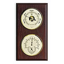 Kensington Row Coastal Collection WEATHER STATIONS -PLYMOUTH BAROMETER & THERMOMETER/HYGROMETER ON MAHOGANY BASE