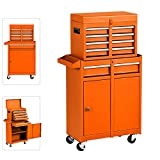 High Capacity Rolling Tool Chest with Wheels and Drawers, 5-Drawer Tool Box Organizer on Wheels,Detachable Tool Cabinet with Lock for Workshop Garage (Orange)