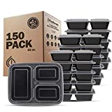 Freshware Meal Prep Containers [150 Pack] 3 Compartment with Lids, Food Containers, Lunch Box   BPA Free   Stackable   Bento Box, Microwave/Dishwasher/Freezer Safe, Portion Control, 21 day fix (32 oz)