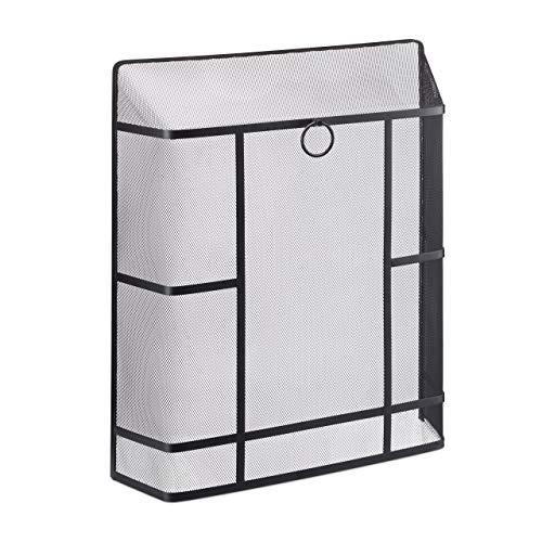 Relaxdays Funkenschutzgitter Kamin, feinmaschig, Stahl, ohne Bohren, Kaminschutzgitter, HxBxT: 71 x 61 x 17 cm, schwarz, 1 Stück