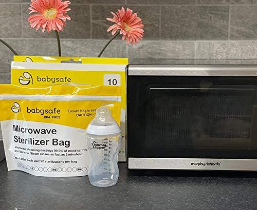 BabySafe Bolsas esterilizadoras para microondas, paquete de 10 bolsas reutilizables (amarillo)