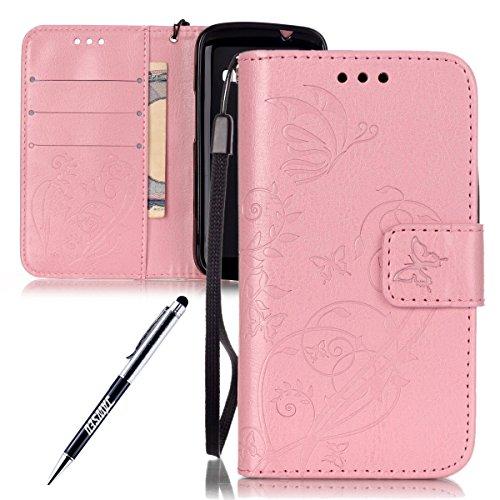 Kompatibel mit Samsung Galaxy Ace 4 G313H Hülle Retro Handyhülle Flip Cover Wallet Tasche Flower Blume Schmetterling Muster Brieftasche Etui Schutzhülle Lederhülle Handytasche,Pink