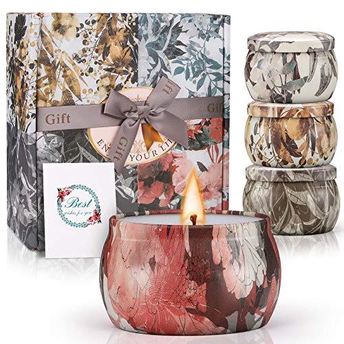 Winzwon Duftkerze Aroma Kerzen Duftkerzen Geschenkset 100% Natürliches Sojawachs Kerze mit Vanille, Rosmarin, Lavendel und Freesie, Geschenk Set für Bad Geburtstag Yoga Jahrestag Aromatherapie Kerzen