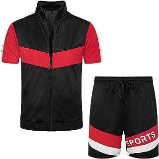 Men's 2 Piece Tracksuit Set Full Zip Athletic Sweatsuit Outfit Jogger Sport Short Sets