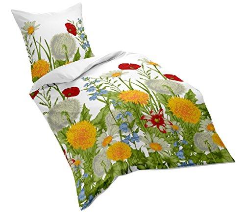 Fleuresse Mako-Satin-Bettwäsche, sommerliche Blumenwiese, 155 x 220 cm, bunt