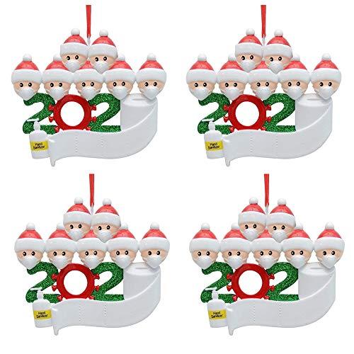 4PCS Family Christmas Tree Adornos 2020 Decoraciones navideñas personalizadas, DIY Nombre personalizado 2020 Souvenir para la víspera de Navidad Regalo familiar de Navidad - Familia de 7