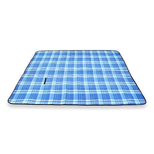 Schramm® Picknickdecke faltbar mit Tragegriff aus Fleece in 3 Farben 2 x 2m Picknickdecken Outdoordecke wasserfeste Unterseite, Farbe:Blau groß kariert