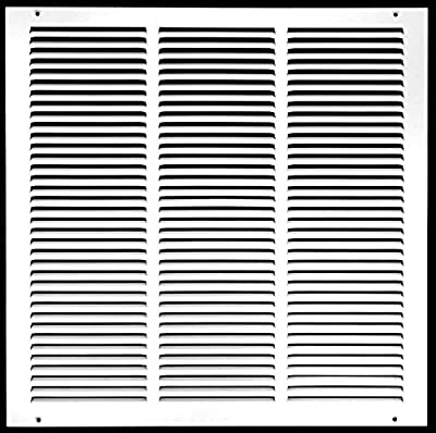 "18""w X 18""h Steel Return Air Grilles - Sidewall and Ceiling - HVAC Duct Cover - White [Outer Dimensions: 19.75""w X 19.75""h]"