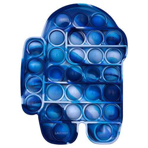 LAVONE Fidget Toys, Push Pop Bubble Fidget Sensory Toy, Push Pop Fidget Toy for Kids Adults, Silicone Stress Relief Toy - Blue