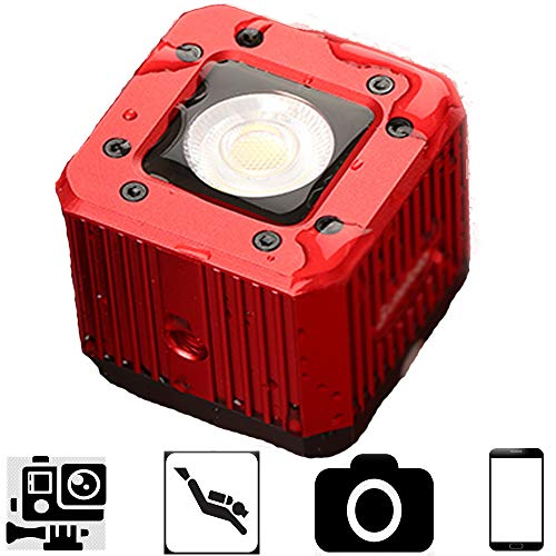 Flashoot C-08 8W 200LUX/1M Mini Aluminum LED Video Light with 1/4' Compatible for Phone/Camera/Drone/GoPro/DJI ZhiyunFeiyu Moza Gimbal, 20m Waterproof Led Used for Diving, Camping,Party-Red