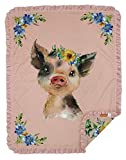 Dear Baby Gear Deluxe Baby Blanket, Double Layer Minky, Baby Pig with Sunflowers, Blush Pink Ruffle, 43 x 33 Inches