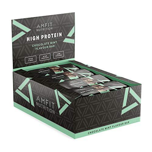 Amazon Brand -Amfit Nutrition Low Sugar Protein Bar (19.8gr protein - 0.9gr sugar)- Chocolate Mint - 12-pack (12 x 60g)