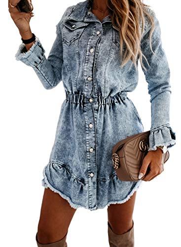 CORAFRITZ Vestido de camisa de mezclilla con botones de manga larga y borde crudo para mujer, vestido de cintura alta con dobladillo de hoja de loto