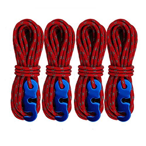 Cuerda de guía para tienda de campaña, 3 mm, con tensor de cuerda, ajustador, juego de 4 cuerdas de nailon para campamento con hebilla de cuerda de viento para senderismo
