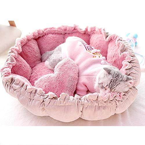 Cama de perro Fashian Pet Bed Four Seasons Universal PV suave, terciopelo, cama cerrada con forma de cama, bolsa de dormir tipo flor, apta for interiores y exteriores Cama de gato ( Size : S )