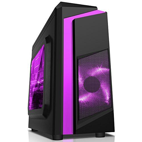 CiT, Carcasa de computadora F3 Midi para Gaming, con Ventilador de 12cm con luz LED Verde, Color Negro Multicolor Morado