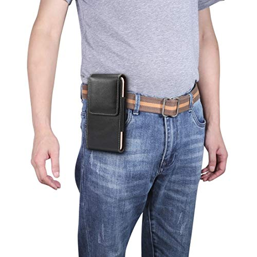 Funda Protectora telefónica para iPhone XR y 8 Plus, Galaxy S10, Huawei P30 Lite, Caja de teléfonos celulares 5,5 Pulgadas Vertical Vertical Textura Bolso de la Cintura (Color : Black)