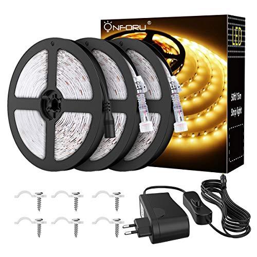 Onforu 15M Tira LED, IP65 Impermeable Tiras de Luces, 3000K Blanco Cálido LED Strip, 12V Tiras Adhesivas de 2835 LEDs para Decoración Cocina Jardín Patio Balcón Fiesta Boda Terraza Salón