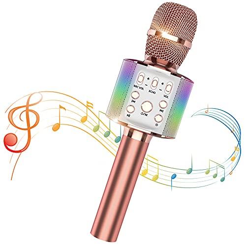 Sky Stone Bluetooth カラオケマイク 高音质 ワイヤレスマイク ポータブルスピーカー デュエット 録音可能 karaoke ノイズキャンセリング カラオケ機器 LEDライト付き 3200mAh 家庭用 カラオケ/自宅/パーティー 日本語説明書(ローズゴールド)