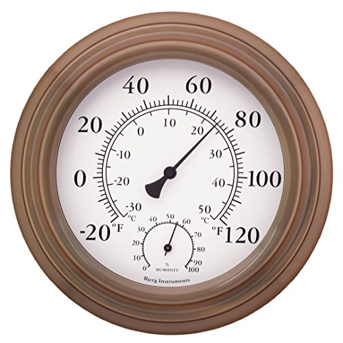 Bjerg Instruments 8' Antique Copper Finish Decorative Indoor/Outdoor Thermometer and Hygrometer