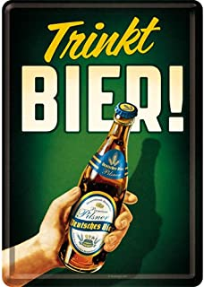 Nostalgic-Art 10274 | Metal Postcard Small Tin Sign 10 x 14 cm | Trinkt Bier!