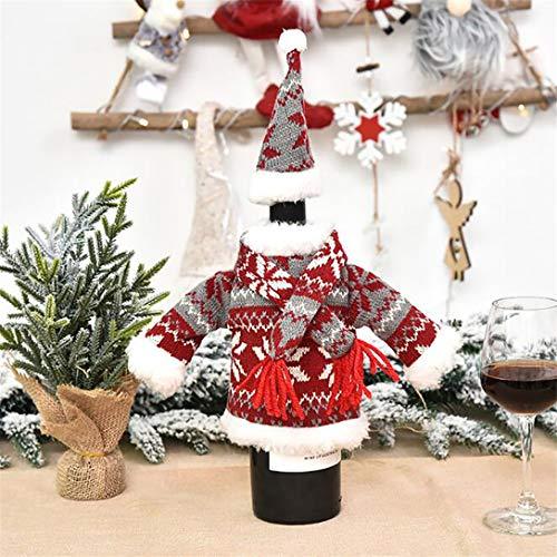 MAJFK Funda de punto para botellas de vino de Navidad, para decoración de mesa, color rojo