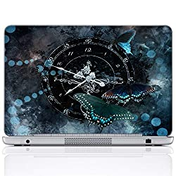 Meffort Inc 17 17.3 Inch Laptop Notebook Skin Sticker Cover Art Decal (Included 2 Wrist pad) - Clock Butterfly Design