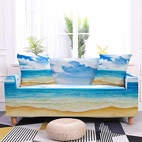 Fundas de Sofá Elastica 4 PlazasPatrón de océano Azul Funda Cubre Sofa Regalar 2 Funda de Cojines Funda para Sofá Funda de sofá de Sillón Antideslizante Protector Cubierta de Muebles