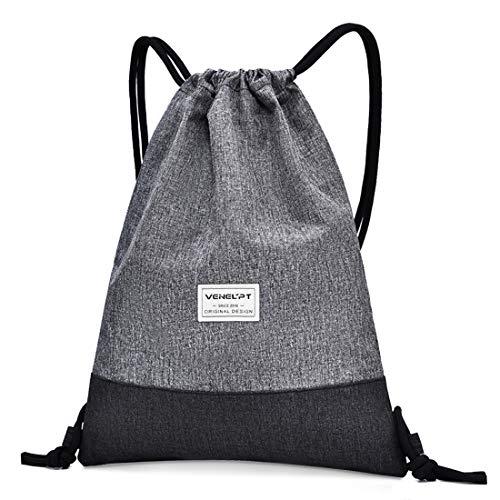 Bluelves Mochila de Cuerdas Mujer Hombre Bolsas de Cuerdas Impermeable Gimnasio Deporte Drawstring Backpack Bolsillo Exterior Extra Ajustable Correas de Hombros (Gris Claro)