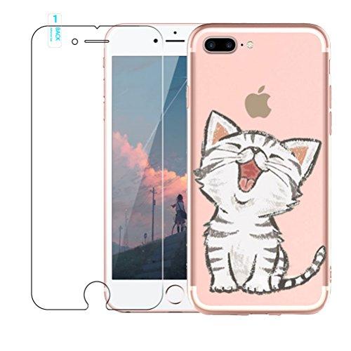 Funda iPhone 7 Plus, Blossom01 Funda [con Protector de Pantalla de Vidrio Templado] Funda Ultra Fina de Gel de Silicona TPU con Dibujo Animado para iPhone 7/iPhone 8 Plus - Gatos