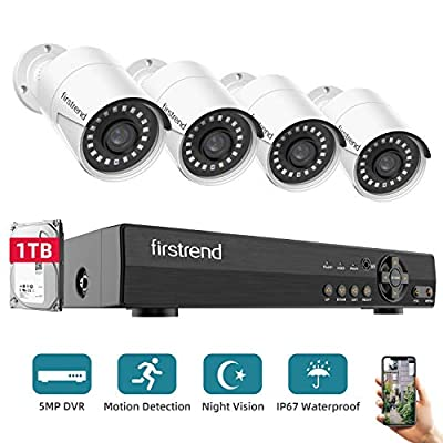 [2020 New]Security Camera System,Firstrend Wired Home Surveillance Cameras System 8CH 5MP DVR with FHD Indoor Outdoor Weatherproof CCTV Cameras 1TB Hard Drive Motion Alert Night Vision Remote Monitor