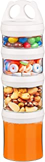 Besthouse Snack Jars 4-Piece Twist Lock Stackable Containers Travel, Formula Travel Container for Storing Milk, Protein Powder, Snacks, Travel Items, BPA Free(Cream, 31oz)