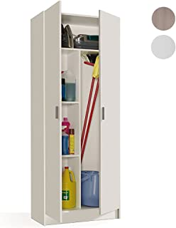 Habitdesign 007142O - Armario multiusos escobero de dos puertas, color Blanco Mate, medidas: 180x73x37cm de fondo