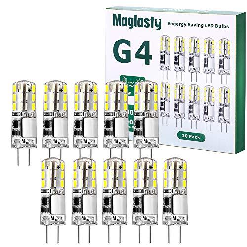 G4 LED Ampoule 1.5W 12V, 10 PACKS AC/DC Ampoules 9mm x 36mm, Equivalent 20W Halogène Lampe Non Dimmable pour Chambre Salon Cuisine Jardin (Blanc Froid)