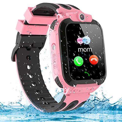 Montre Connectée Enfant LBS Tracker Étanche Enfant Smartwatch Montre Téléphone Réveil Math Jeu Caméra Cadeau d anniversaire pour Enfants (Pink)