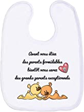 bavoir b/éb/é unisexe-100/% coton doux Petit Boucanje suis le petit de ma mamie doubl/é en /éponge coton tr/ès absorbant en Bleu Canard