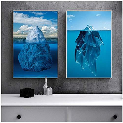 DLFALG Sea Reef Schilderij Blue Seabed Art Home Decor Poster Modern Abstract Canvas Schilderij Woonkamer Print Poster - 40 * 60cm * 2 Oningelijst