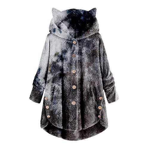 MRULIC Damen Winter Wärme Softshell Pullover Flauschige Kapuzenpullover Mantel Fleece Fell Hoodie Sweatshirt Mantel Parka (EU-48/CN-4XL, A-Gelb)