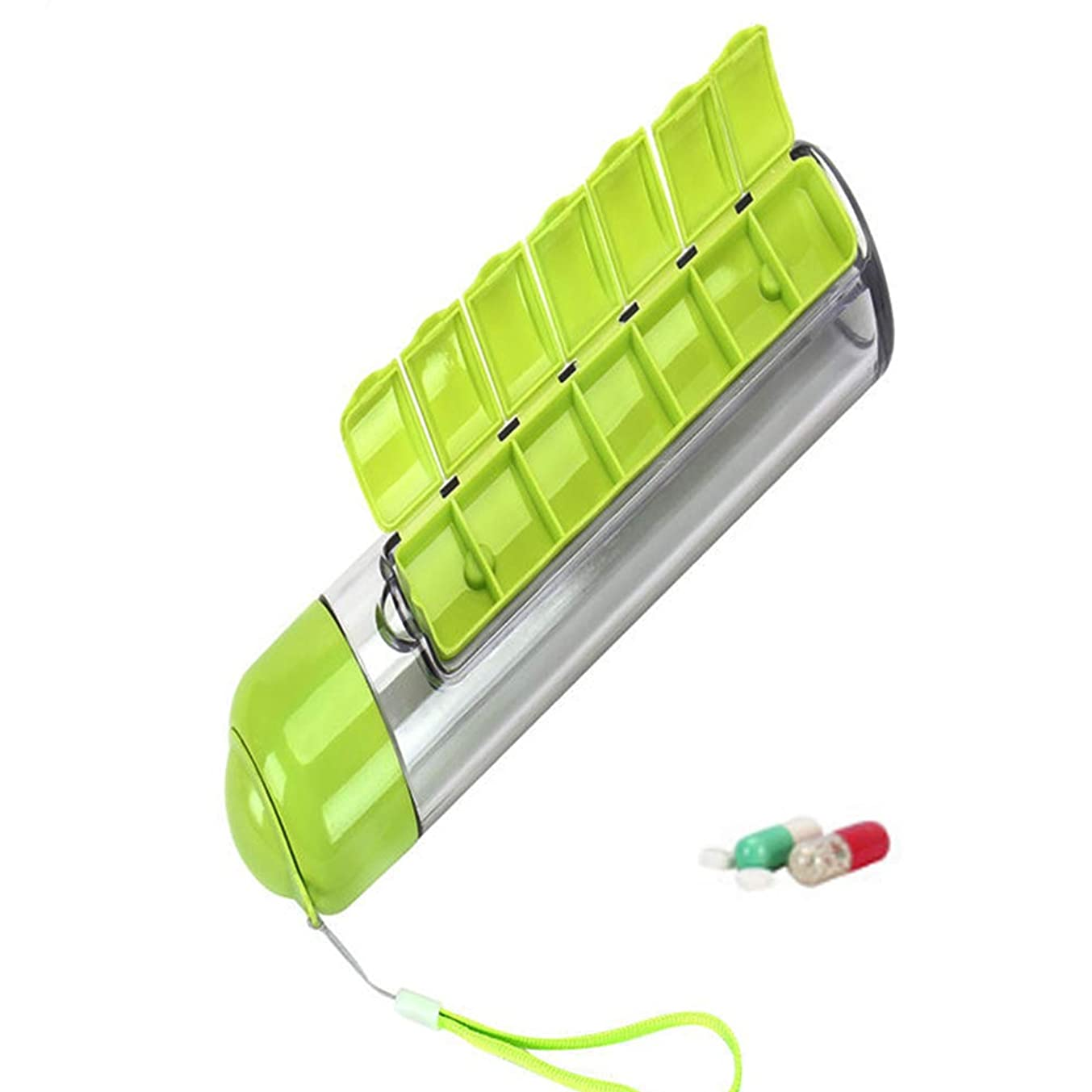 追跡焦がす影響ピルケース 薬ケース付き 水ボトル カップ ポータブルピルボックス 取り外し可能,Green